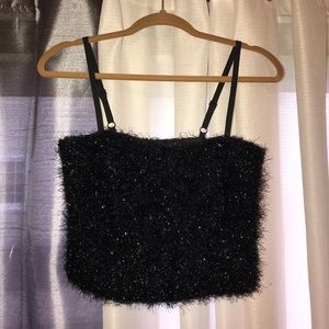 Shimmer Black Tube Top (with straps)